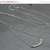 SALE 20%off Seed Pearl Bar Necklace Sterling Silver