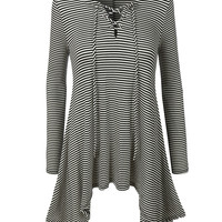 LE3NO Womens Striped Long Sleeve Lace up Handkerchief Tunic Top (CLEARANCE)