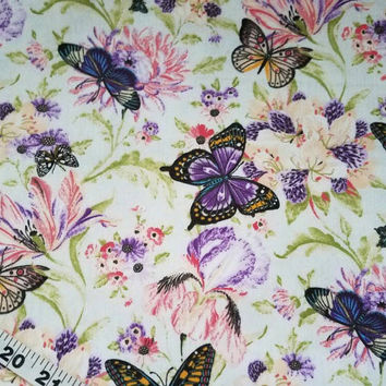 Floral flannel fabric with flowers butterflies quilt cotton print sewing material by the yard BTY quilter crafting flannel butterfly fabric