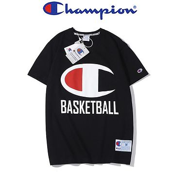 Champion New fashion letter logo print couple top t-shirt Black