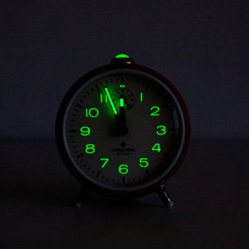 German Alarm Clock, Junghans BiVox, Desk Clock, Mechanical Office Clock, Red, Colorful, Night Dark Black Neon, ohtteam