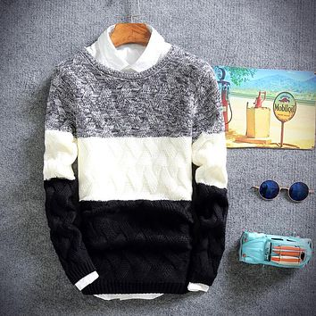 2017 Fall Men's Sweaters, Fashion Men's Slim Big Striped Men's Sweater , Fashionable Young Men's Warm Sweater Pullovers