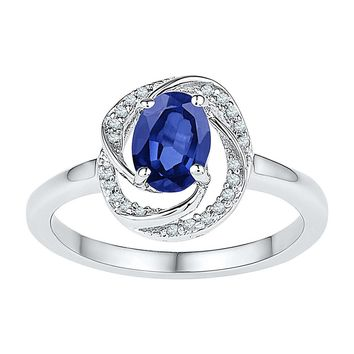 10kt White Gold Womens Oval Lab-Created Blue Sapphire Solitaire Ring 1-1/4 Cttw