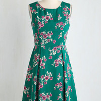 Mid-length Sleeveless Fit & Flare I Rest My Grace Dress in Emerald Blooms