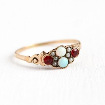 Antique Opal Ring - Victorian Era 10k Rosy Yellow Gold Garnet & Glass Doublet + Seed Pearl - Vintage Size 7 3/4 Red Pink Stone Fine Jewelry