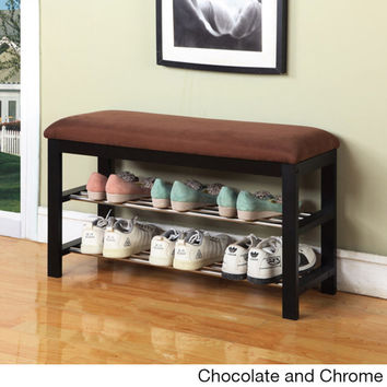 Plush Vinyl, Metal and Wood Shoe Rack Bench | Overstock.com Shopping - The Best Deals on Benches