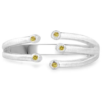 LoveHuang 0.02 Carats Genuine Yellow Diamond (I-J, I2-I3) Minimalist Branch Ring Solid .925 Sterling Silver With Rhodium Plating, Matte Finish