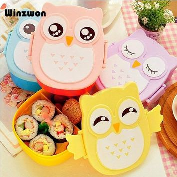 1Pcs Cartoon Owl Shape Lunch Box Food Container Sushi Bento Box With Spoon For Kids School Student Picnic Food Fruit Storage Box