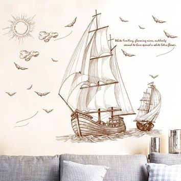 [Fundecor] sailing travel wall stickers home decor living room bedroom bathroom kitchen wallpaper wall decals poster murals