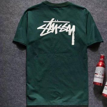 ac NOVQ2A STUSSY 2018 spring and summer new men and women trend printing short-sleeved T-shirt F-YQ-ZLHJ Green