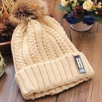 Exclusive - Fur Cap Hat - Unisex Two Tone Winter Warm - Knit Thick Slouch Beanie - Gift