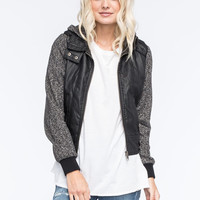 Full Tilt Faux Leather Marled Womens Bomber Jacket Black  In Sizes