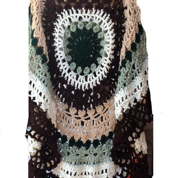 Green Poncho Shawl Circular Asymmetric Crochet Unbalanced Extra Long Green Beige Ivory & Brown Handmade Poncho USA Free Shipping