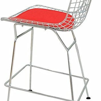 Chrome Wire Counter Stool | Red