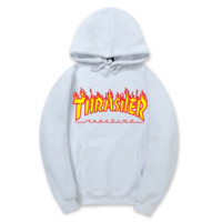 """Thrasher""New flame thickening hoodies sweater letters and line White"