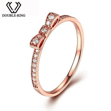 DOUBLE-RING Genuine Solid 18 K Gold Rings Women Wedding Real 0.13ct Diamond Rings Rose Gold Jewelry customized CAR06959KA-3