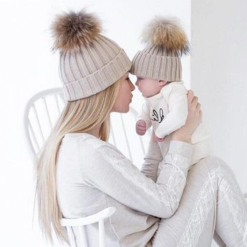 2pcs/lot Parent-child fur pom poms hat Women winter Real mink raccoon fur Skullies caps children knitted pompom hats ZXM-JY-002