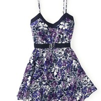 Belted Violets Dress - Aeropostale
