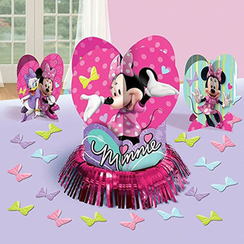Disney Minnie Mouse Birthday Party Table Decorating Kit Assorted Decoration (23 Pack), Multi Color, .