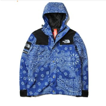 Tide brand SUPREME Harajuku wind cashew flower flowers hooded coat winter men and women jacket Blue