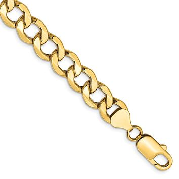 Men's 8mm, 14k Yellow Gold, Hollow Curb Link Chain Bracelet