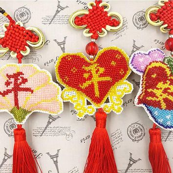 bead cross stitch kit 14ct plastic canvas Chinese style Car Pendant tassel