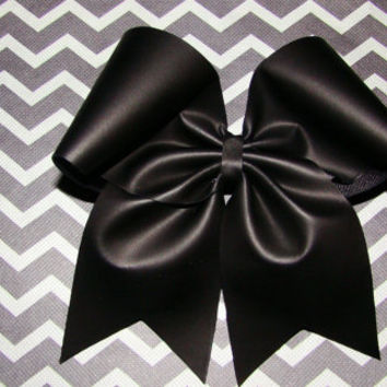 Flat Black Cheer Bow by isparklethat on Etsy
