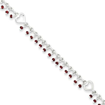 925 Sterling Silver Hollow Heart with Red Beads Dangle Ankle Bracelet