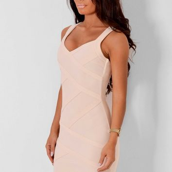 Indulge Nude Bandage Effect Dress | Pink Boutique
