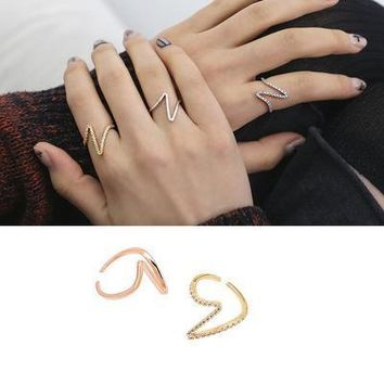 Ring female sweet personality ECG Zircon creative index finger simple ring
