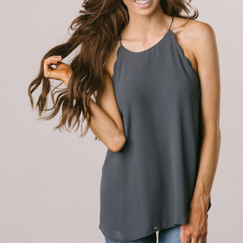 Yvonne Charcoal Scallop Cami