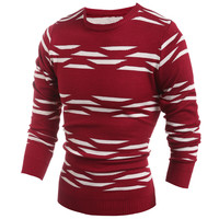 Geo-Pattern Knitted Crew Neck Pullover Sweater