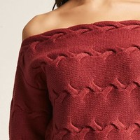 Cable-Knit Off-the-Shoulder Top