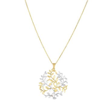 14k Yellow White Gold Tree Of Life Pendant Necklace, 18""