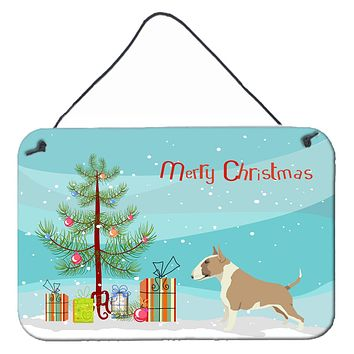 Fawn and White Bull Terrier Christmas Tree Wall or Door Hanging Prints CK3528DS812