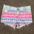 Cut Off Denim Printed Tribal Shorts - Pastel Pinks