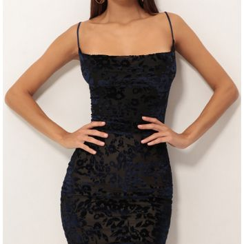 Party dresses > Floral Burnout Velvet A-line Dress In Royal Blue