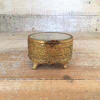 Brass and Glass Box Gold and Glass Jewelry Box Lidded Jewelry Dish Ornate Trinket Box Filigree Gold Jewelry Box Small Brass Box