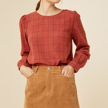 Rust Grid Print Top