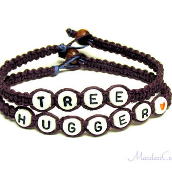 Tree Hugger Bracelets in Plum Purple, Hemp Jewelry for Nature Lovers, Made to Order