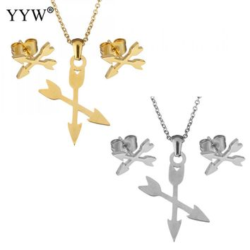 Fashion Jewelry Set Arrowhead Earring Sets Necklace For Women Jewelry Sets For Christmas Gift Accessories Silver /Color Gold