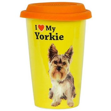 LittleGifts Double-Walled Porcelain Mug, Yorkie