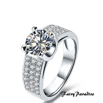 Classic 1 Ct Round Cut lab made Diamond Pave Tension Set Solitaire Engagement Wedding Cocktail Ring with gift box- made to order