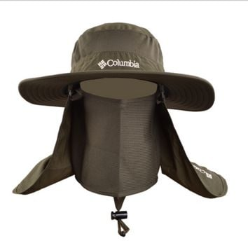 Army Green Fashionable Unisex Outdoor Summer Fishing Hat With Neck Face Curtain Cycling Breathable Visors