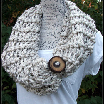 Knit Cowl. Button Cowl. Infinity Scarf. Cream Cowl. Made By Bead Gs on ETSY. Chunky Cowl. Chunky Scarf