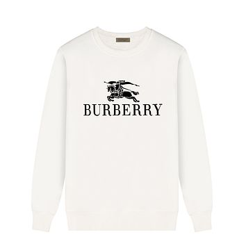 Burberry Autumn And Winter Fashion New Letter War Horse Print Women Men Leisure Long Sleeve Top Sweater White