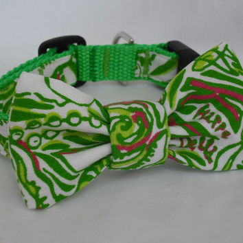 Dog Collar with Bow Made from Lilly Pulitzer Sorority Fabric Kappa Delta Size: Medium