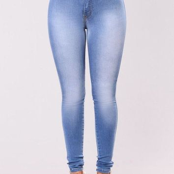 LMFHT3 Classic High Waist Skinny Jeans - Light Blue