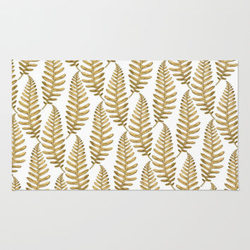 Gold Leaf Pattern Area & Throw Rug by Heart of Hearts Designs
