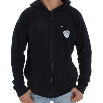 Blue Cotton Sport Gym Hooded Sweater